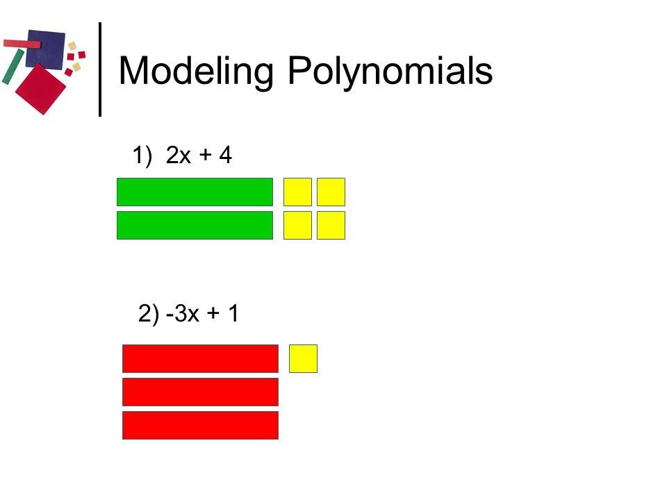 Modeling Polynomials 1) 2x + 4 2) -3x + 1