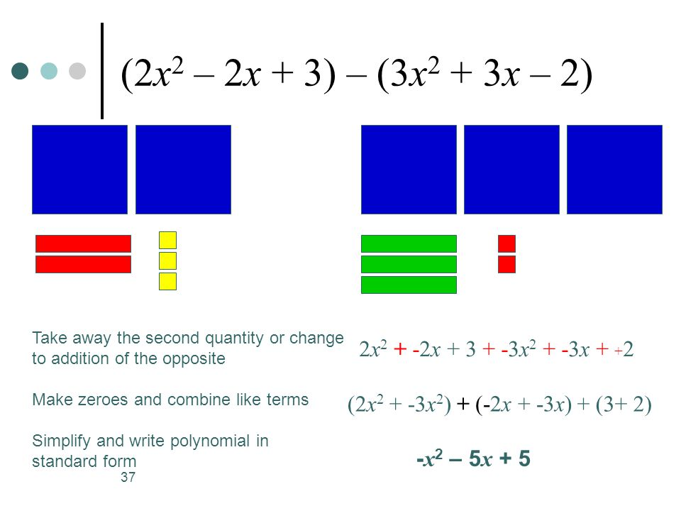 (2x2 – 2x + 3) – (3x2 + 3x – 2) 2x2 + -2x + 3 + -3x2 + -3x + +2
