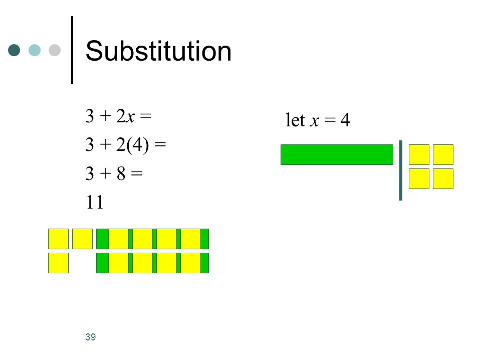 Substitution 3 + 2x = 3 + 2(4) = 3 + 8 = 11 let x = 4