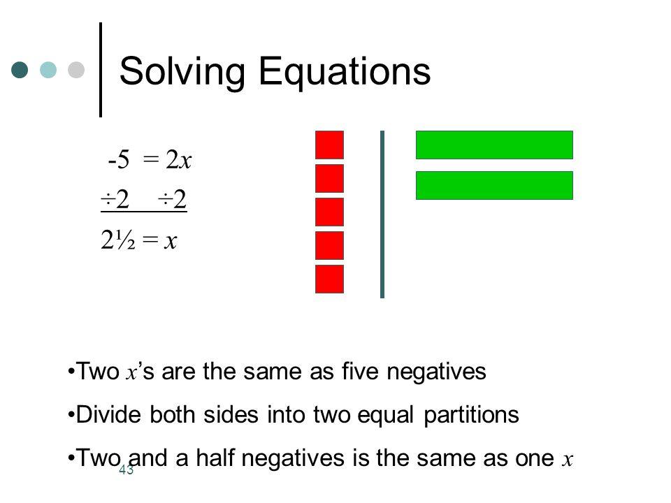 Solving Equations -5 = 2x ÷2 ÷2 2½ = x