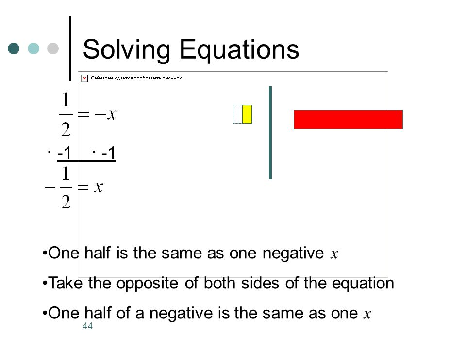 Solving Equations · -1 · -1 One half is the same as one negative x