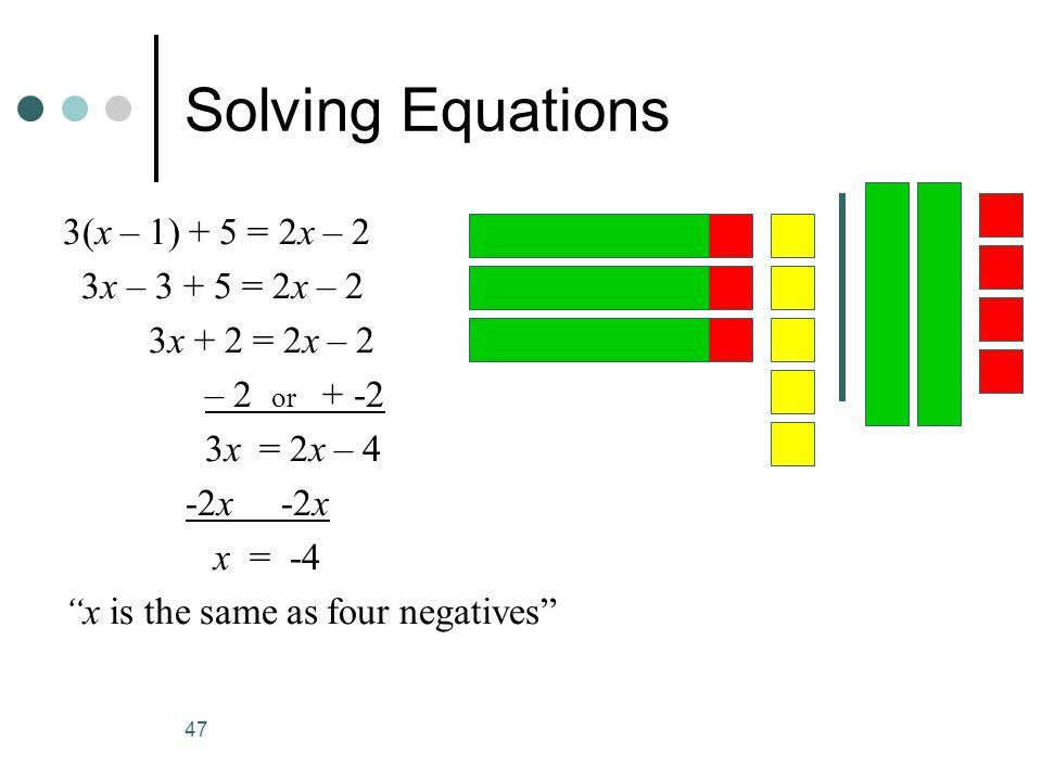Solving Equations 3(x – 1) + 5 = 2x – 2 3x – 3 + 5 = 2x – 2
