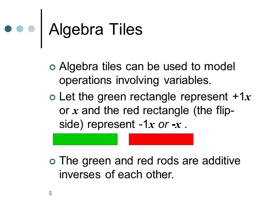 Algebra Tiles Algebra tiles can be used to model operations involving variables.