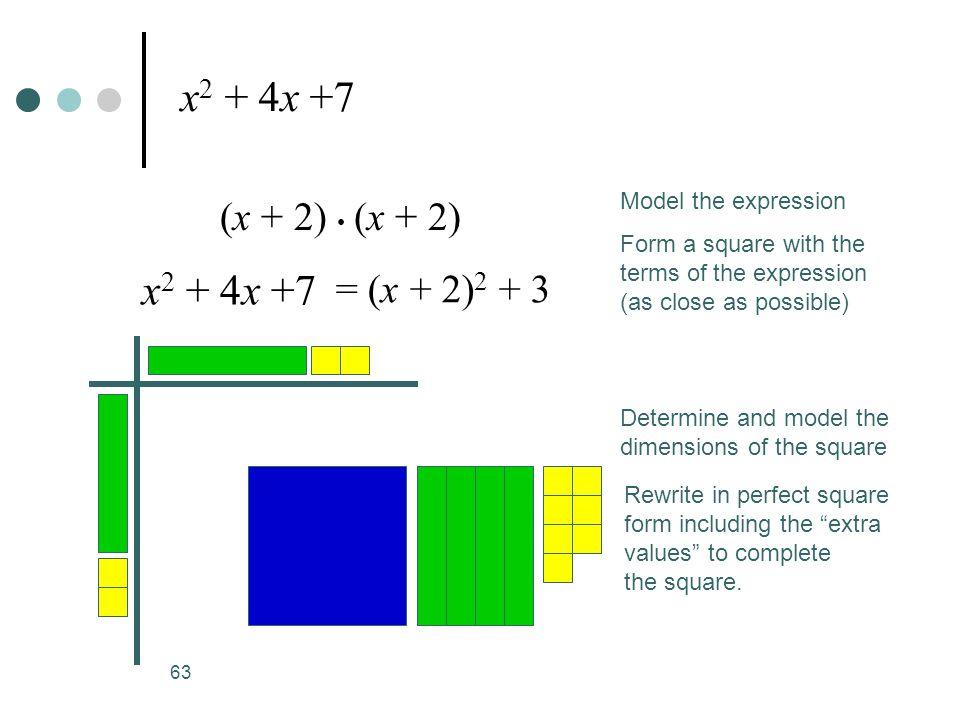 x2 + 4x +7 x2 + 4x +7 (x + 2) • (x + 2) = (x + 2)2 + 3