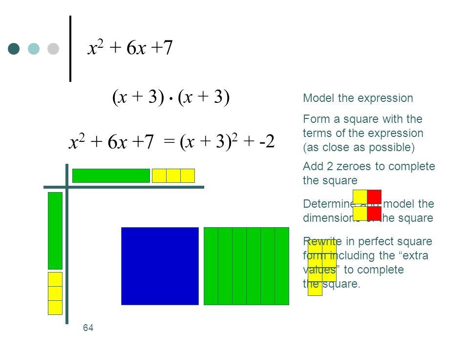 x2 + 6x +7 x2 + 6x +7 (x + 3) • (x + 3) = (x + 3)2 + -2
