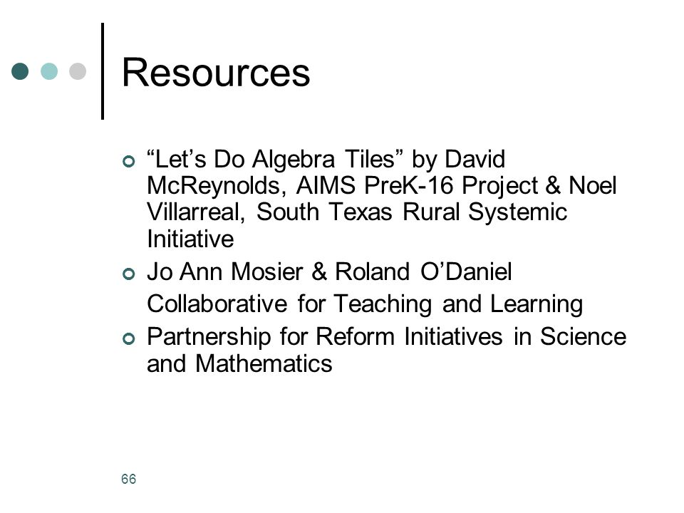 Resources Let's Do Algebra Tiles by David McReynolds, AIMS PreK-16 Project & Noel Villarreal, South Texas Rural Systemic Initiative.