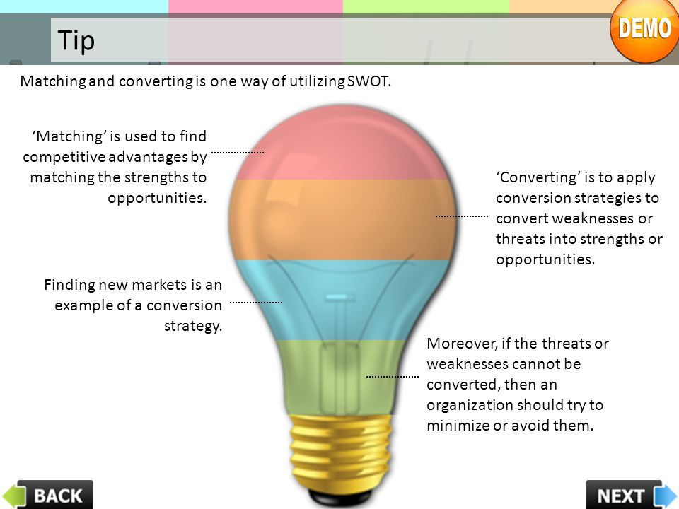 Tip Matching and converting is one way of utilizing SWOT.