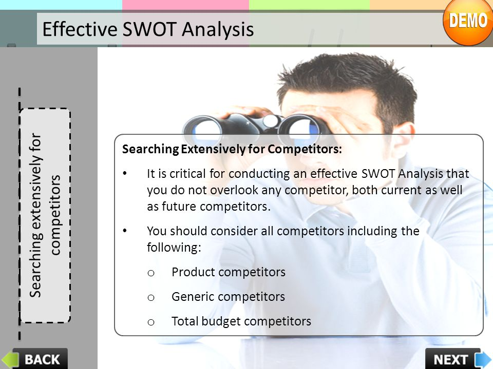 Searching extensively for competitors
