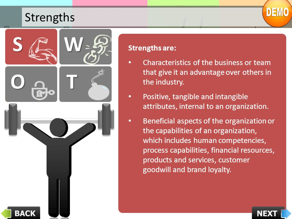 S W W O O T T Strengths Strengths are: