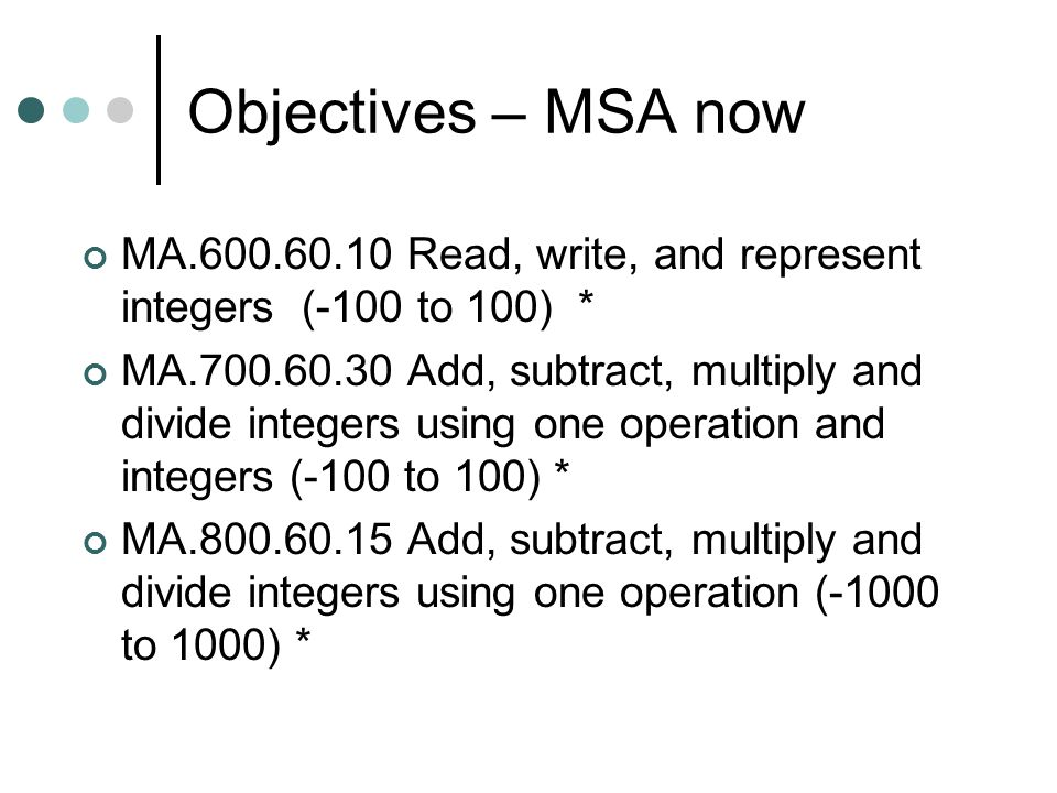 Objectives – MSA now MA.600.60.10 Read, write, and represent integers (-100 to 100) *