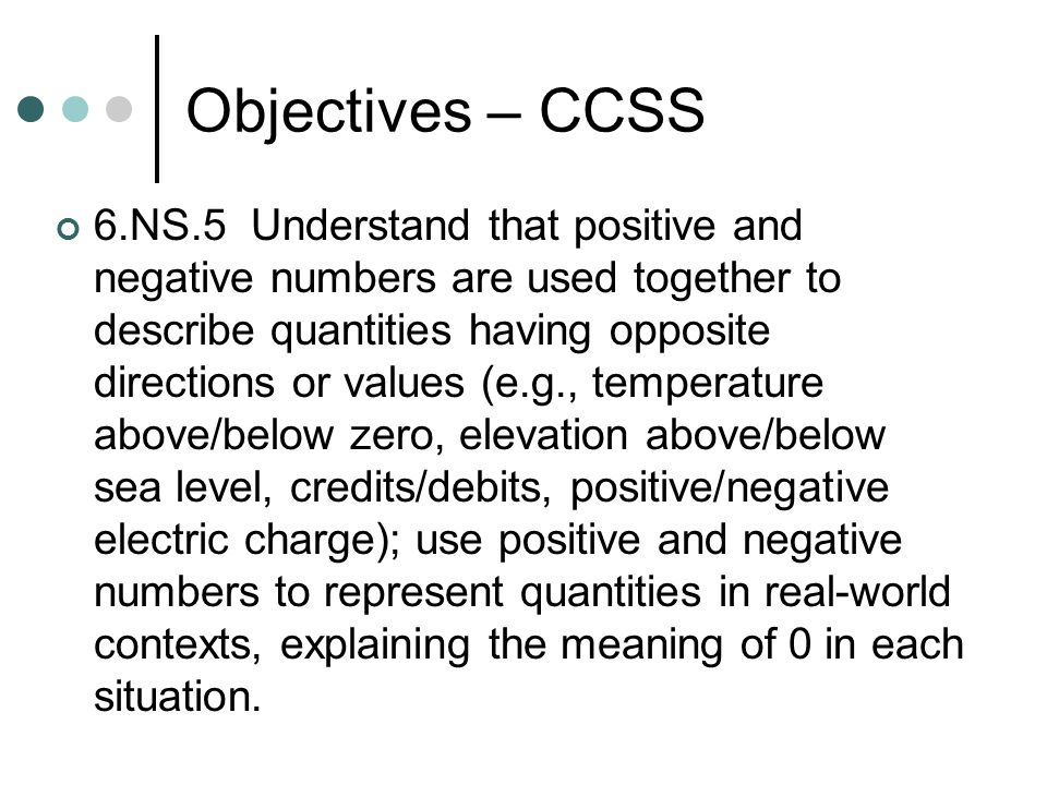 Objectives – CCSS