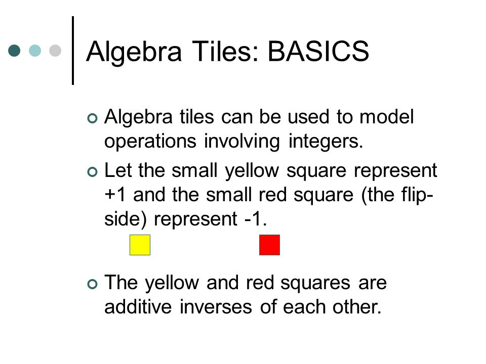 Algebra Tiles: BASICS Algebra tiles can be used to model operations involving integers.
