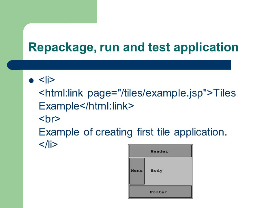 Repackage, run and test application