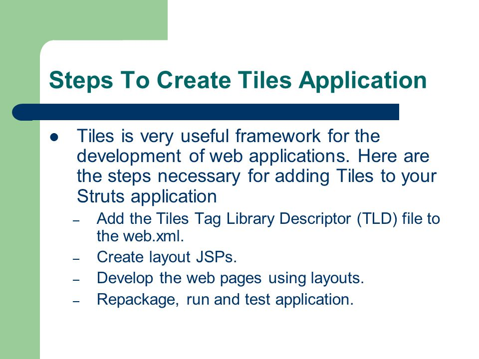 Steps To Create Tiles Application