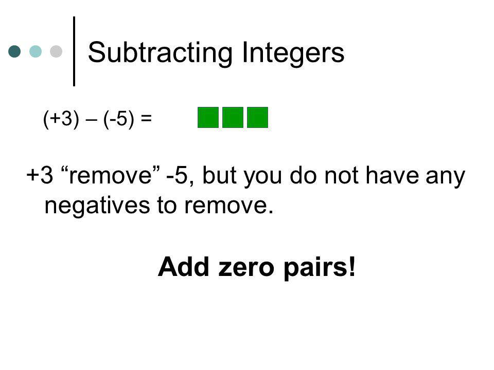 Subtracting Integers Add zero pairs!