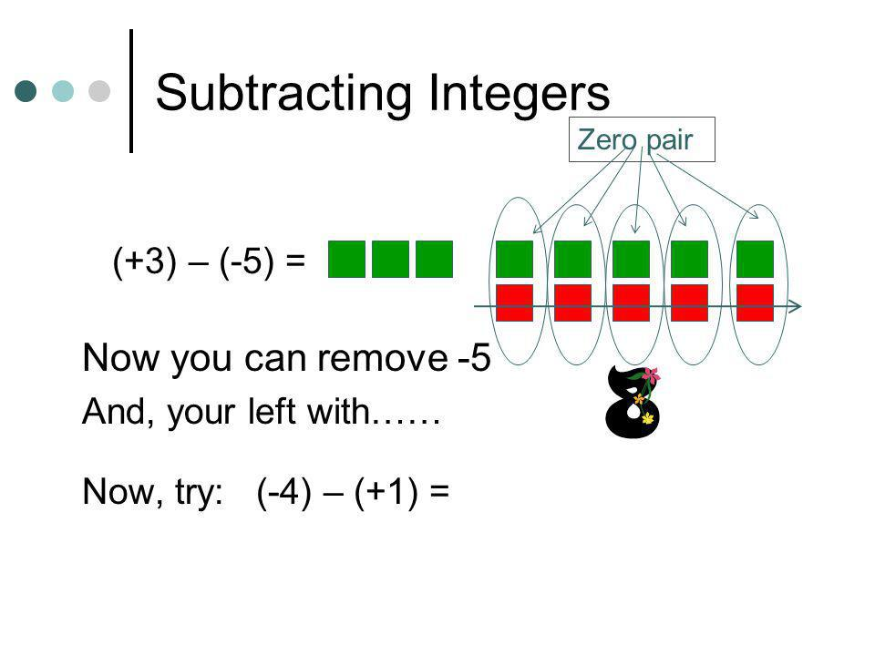 Subtracting Integers Now you can remove -5 (+3) – (-5) =