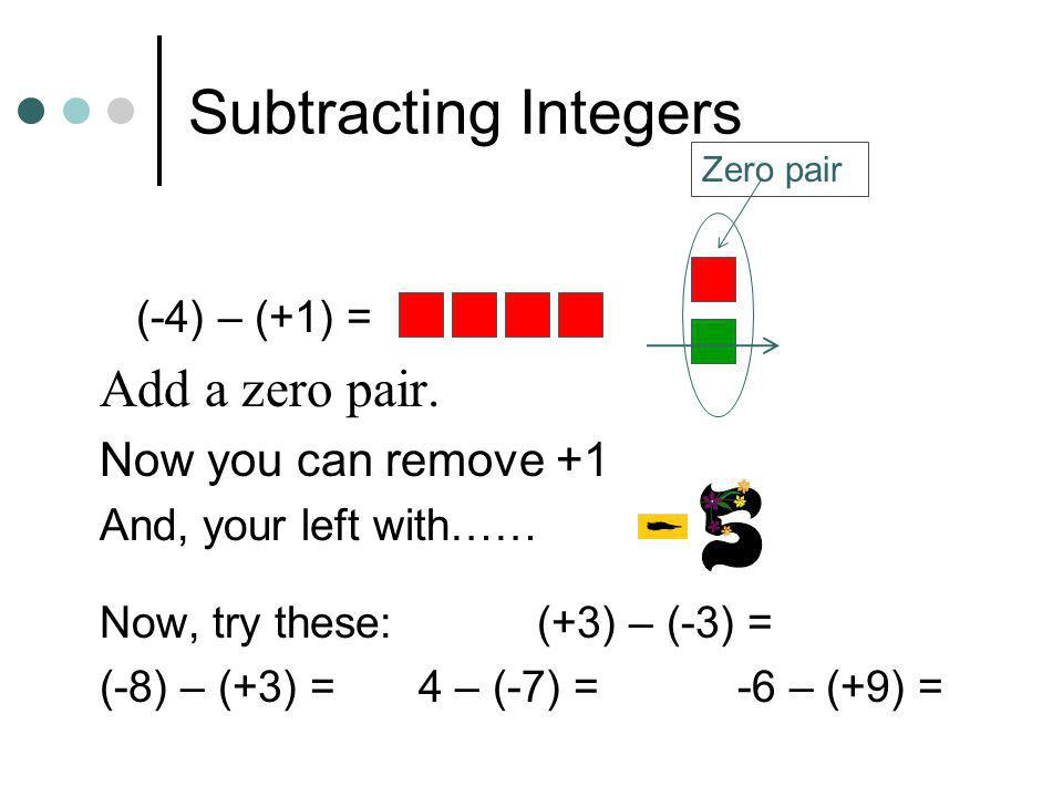 Subtracting Integers Add a zero pair. Now you can remove +1