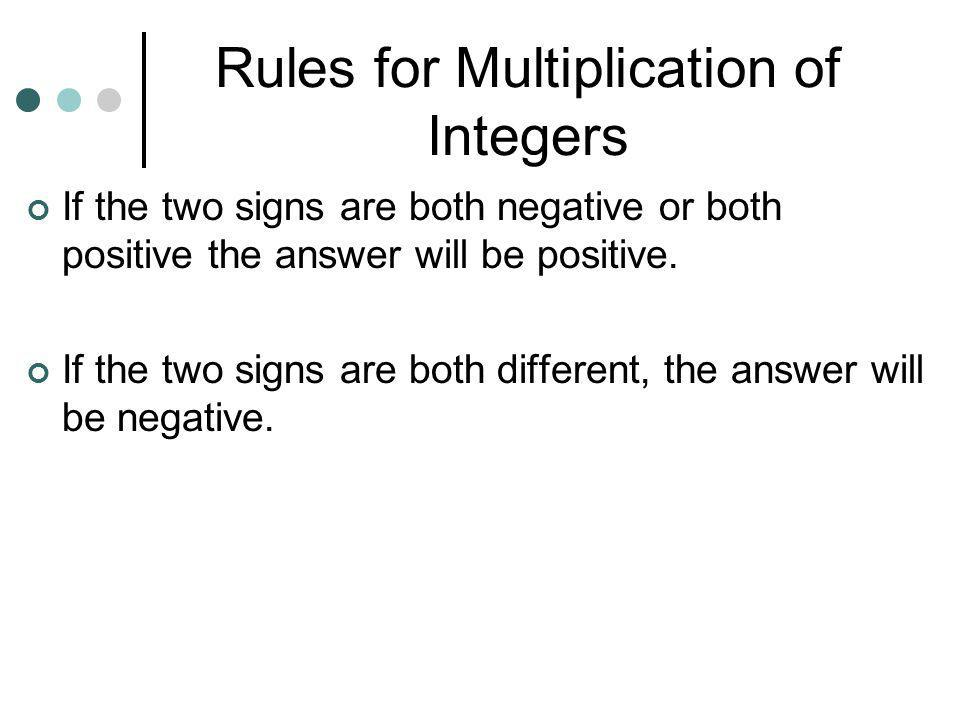 Rules for Multiplication of Integers