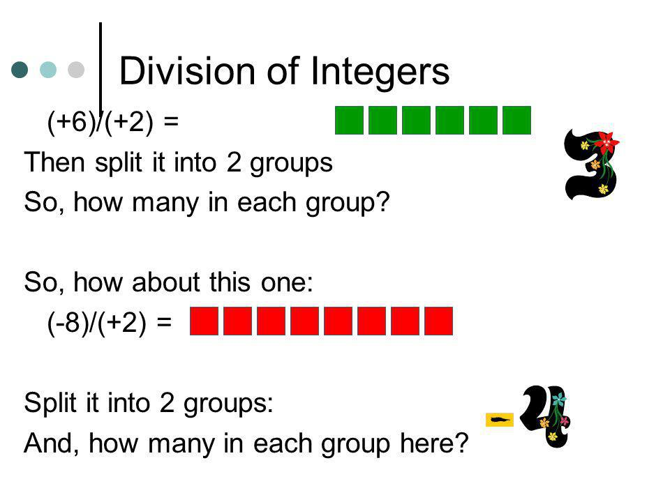 Division of Integers (+6)/(+2) = Then split it into 2 groups