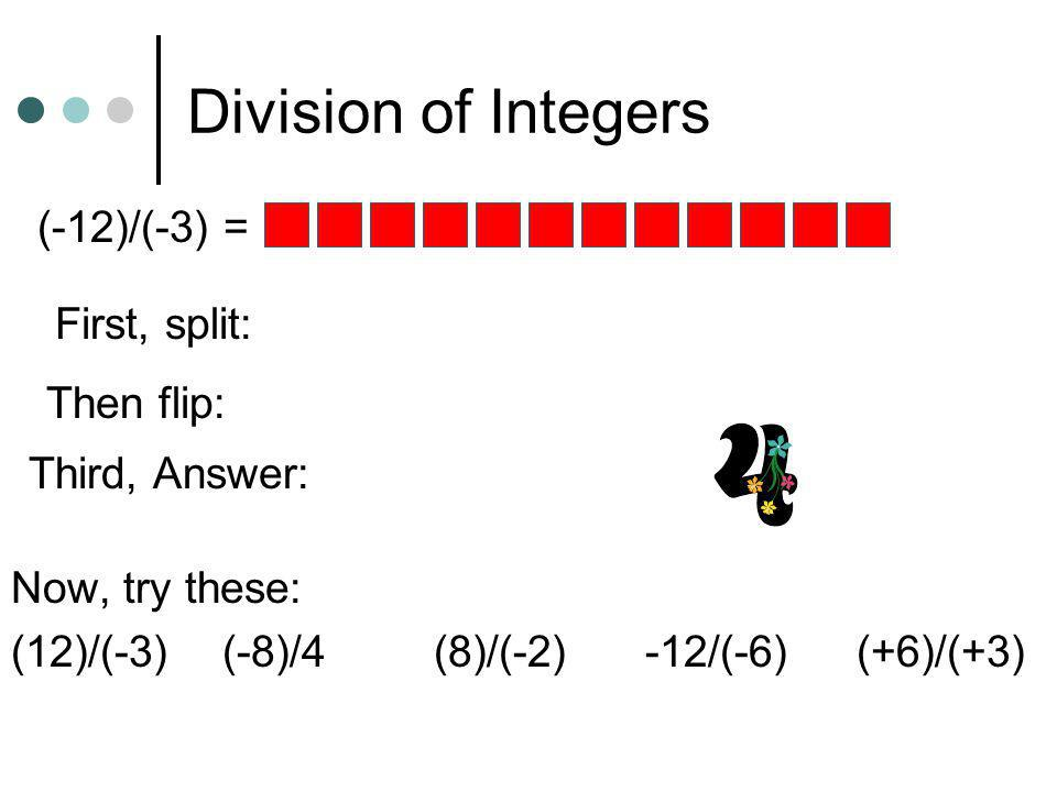 Division of Integers (-12)/(-3) = First, split: Then flip: