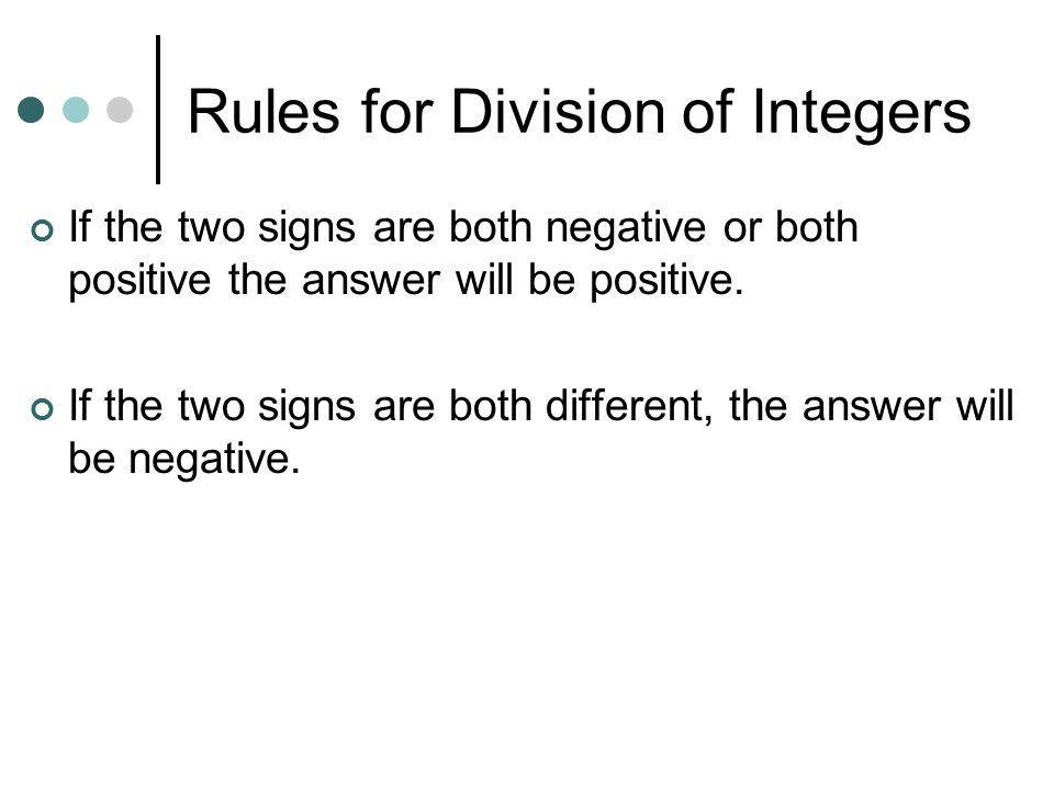 Rules for Division of Integers