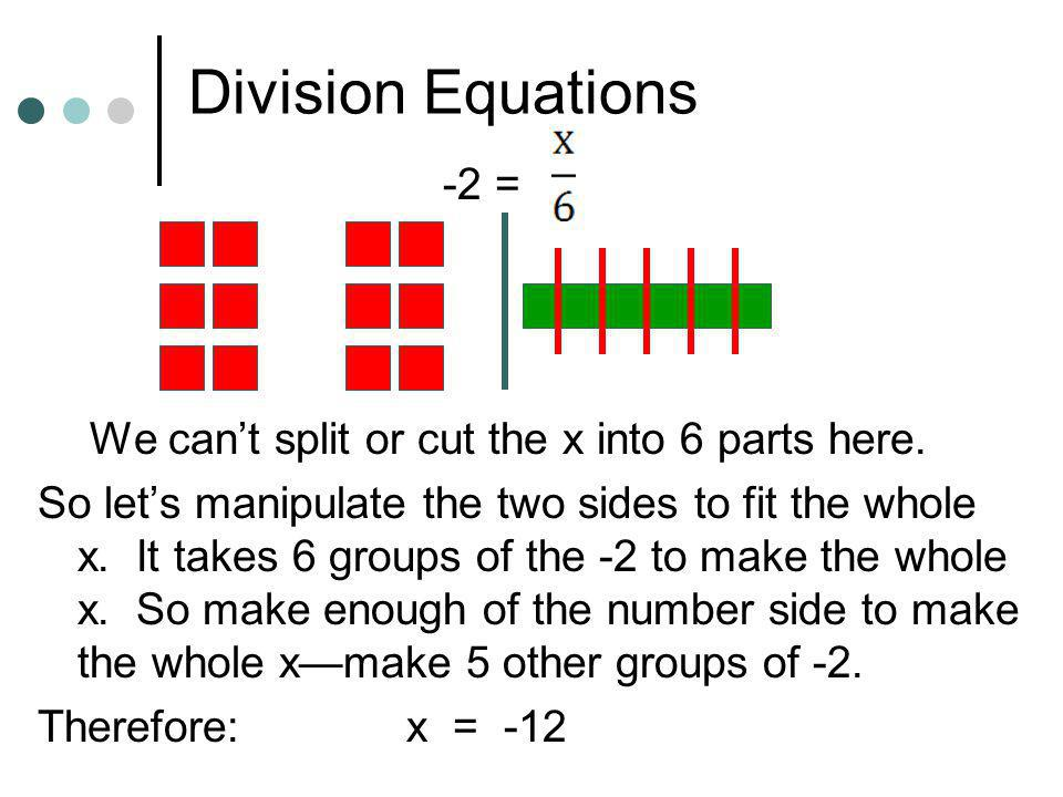 Division Equations -2 = We can't split or cut the x into 6 parts here.
