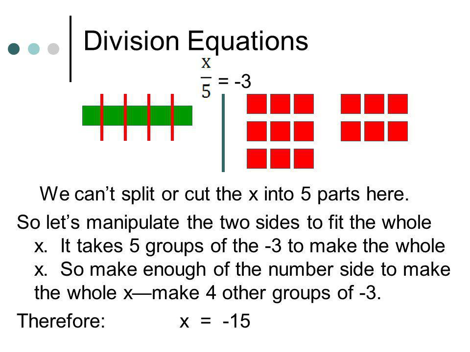 Division Equations = -3 We can't split or cut the x into 5 parts here.