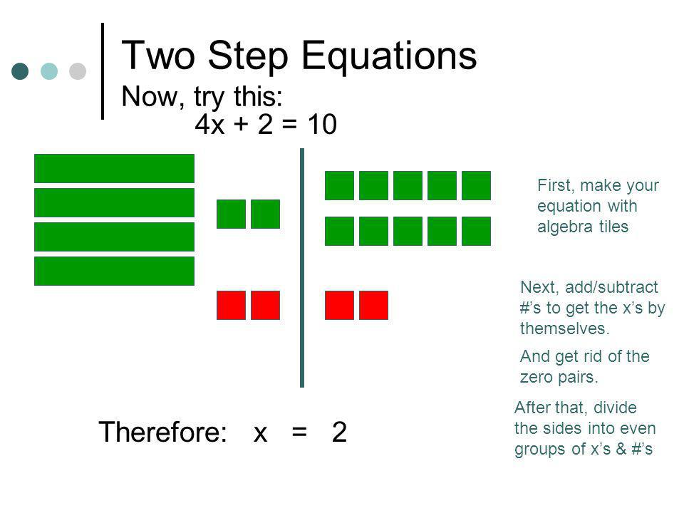 Two Step Equations Now, try this: