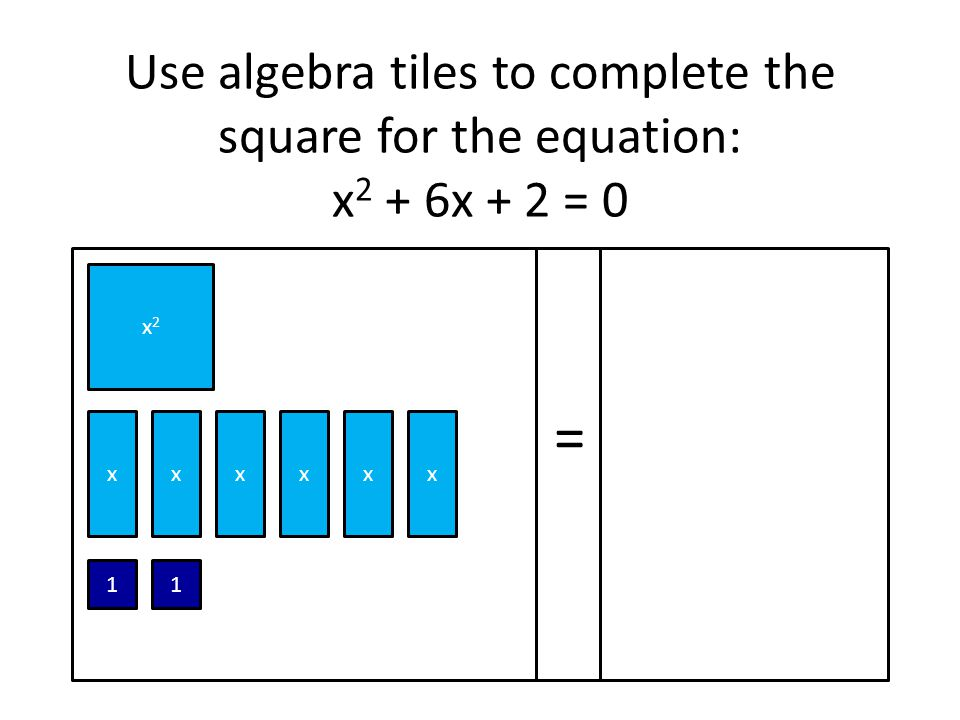 Use algebra tiles to complete the square for the equation: x2 + 6x + 2 = 0