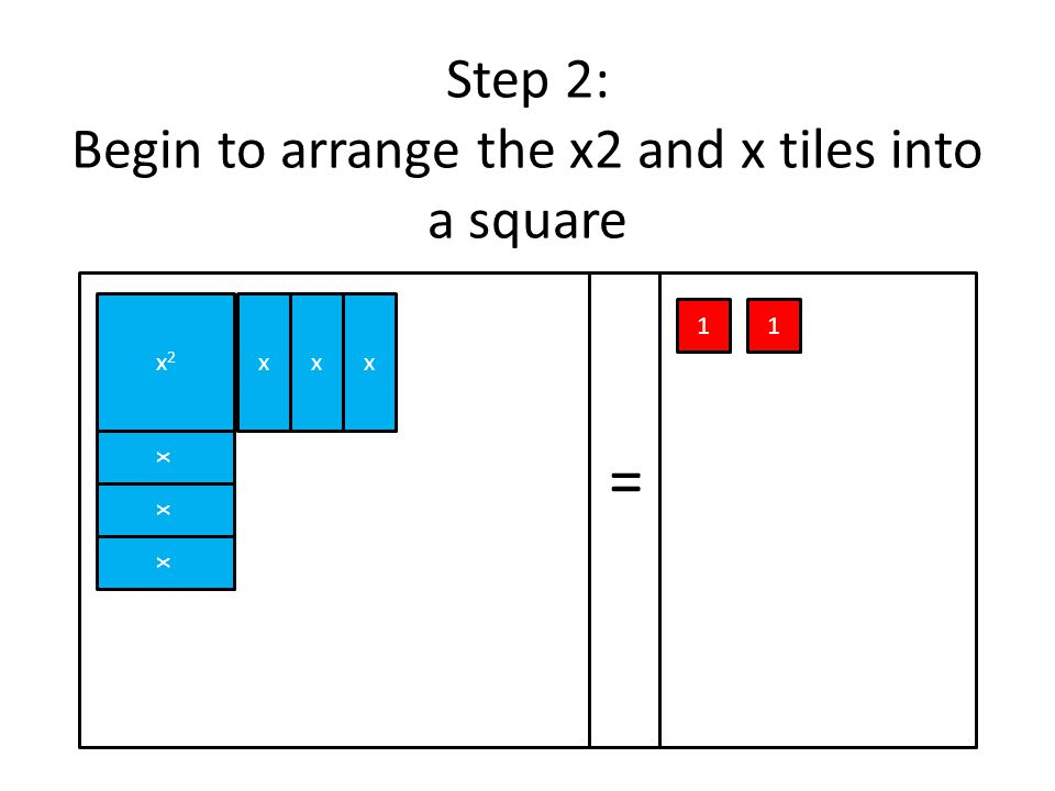 Step 2: Begin to arrange the x2 and x tiles into a square