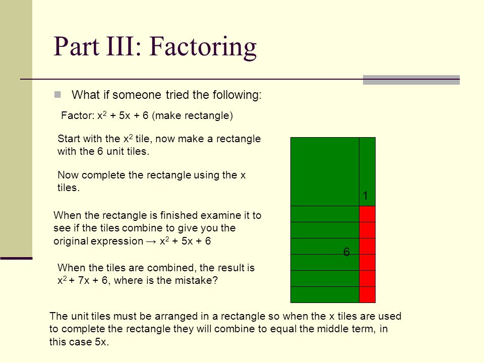 Part III: Factoring What if someone tried the following: