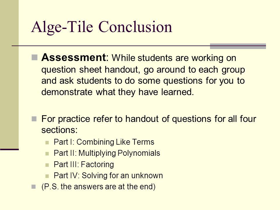 Alge-Tile Conclusion