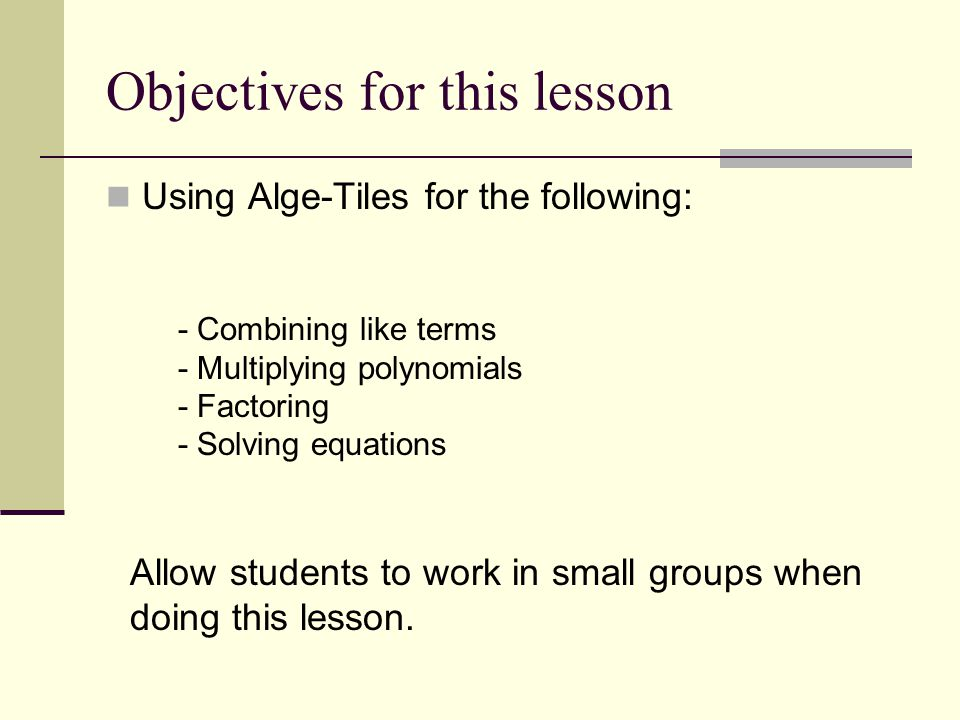 Objectives for this lesson