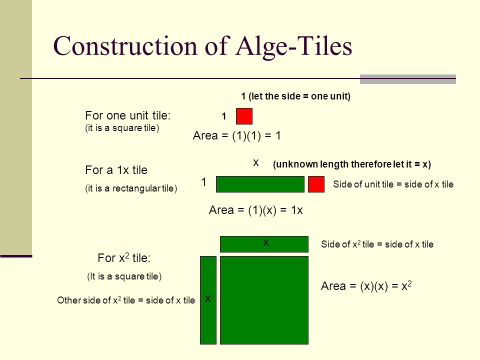 Construction of Alge-Tiles