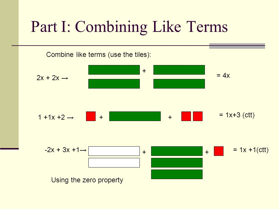 Part I: Combining Like Terms