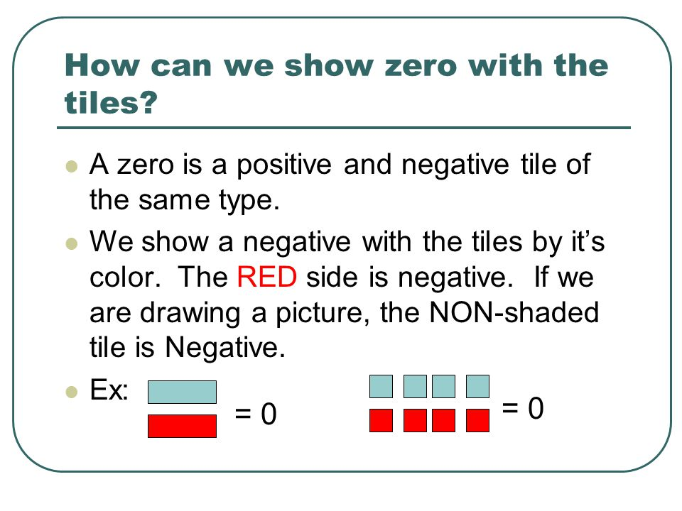 How can we show zero with the tiles