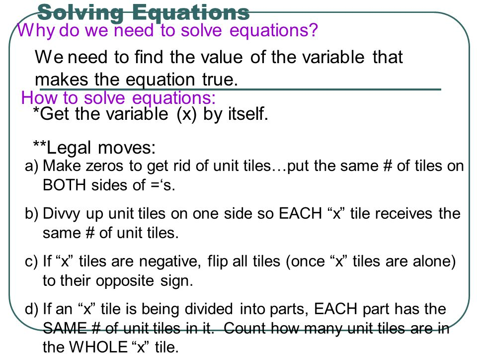 Solving Equations Why do we need to solve equations