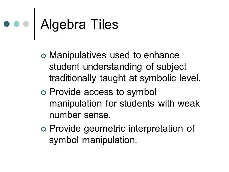 Algebra Tiles Manipulatives used to enhance student understanding of subject traditionally taught at symbolic level.