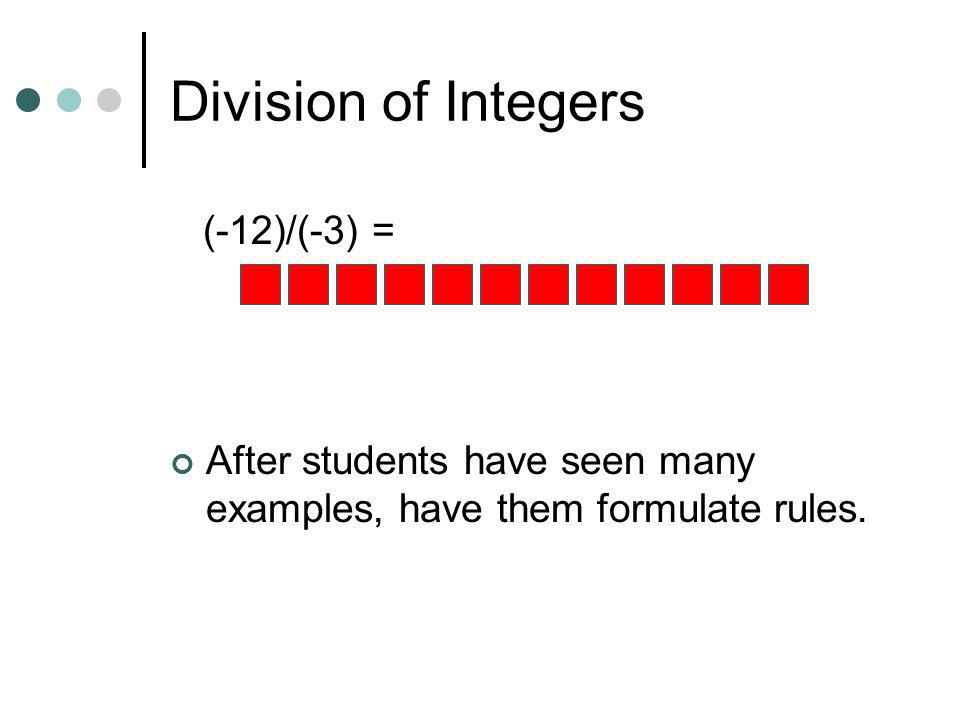 Division of Integers (-12)/(-3) =