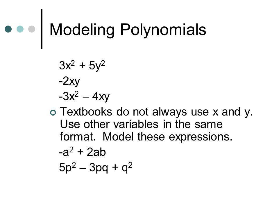 Modeling Polynomials 3x2 + 5y2 -2xy -3x2 – 4xy