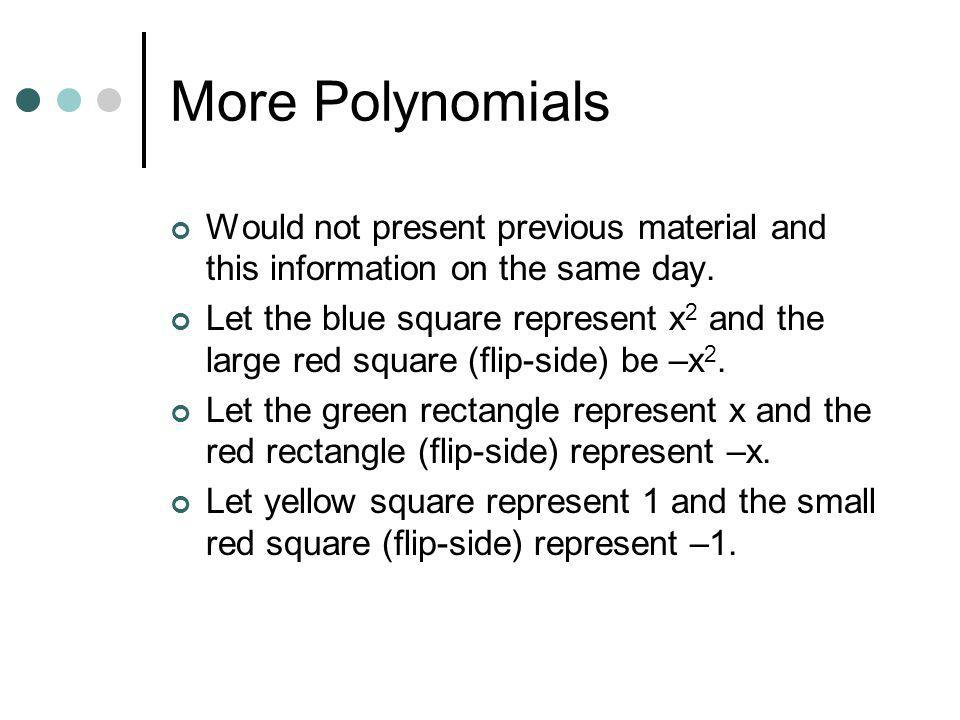 More Polynomials Would not present previous material and this information on the same day.