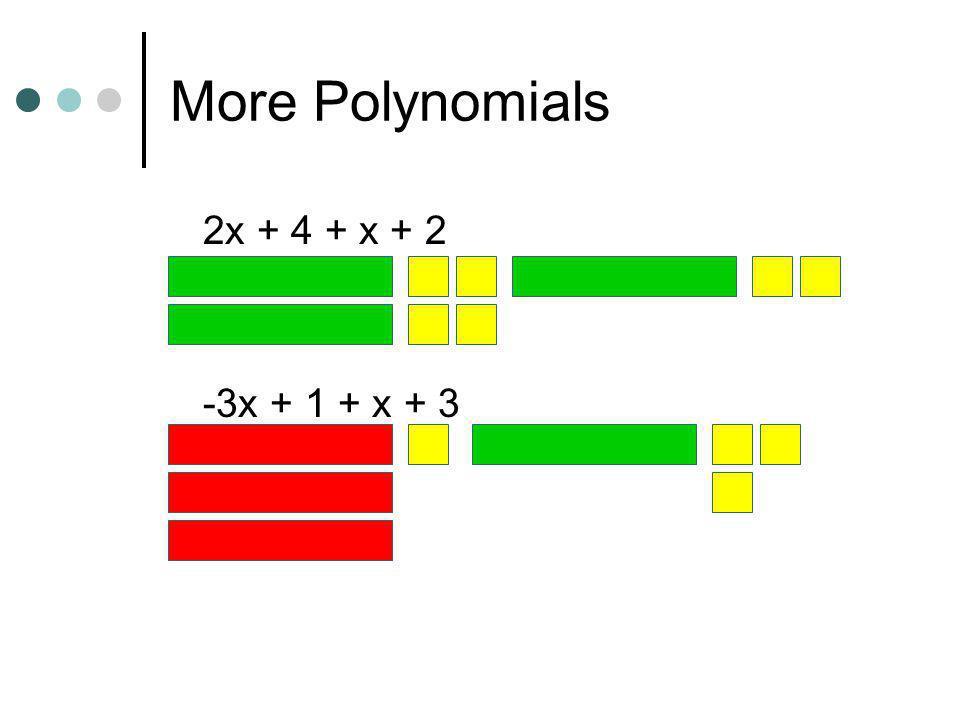 More Polynomials 2x + 4 + x + 2 -3x + 1 + x + 3