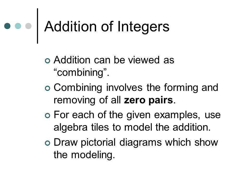 Addition of Integers Addition can be viewed as combining .