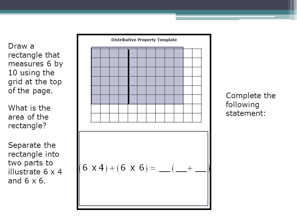 Draw a rectangle that measures 6 by 10 using the grid at the top of the page.