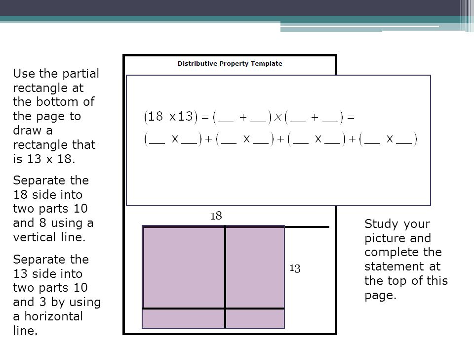 Use the partial rectangle at the bottom of the page to draw a rectangle that is 13 x 18.