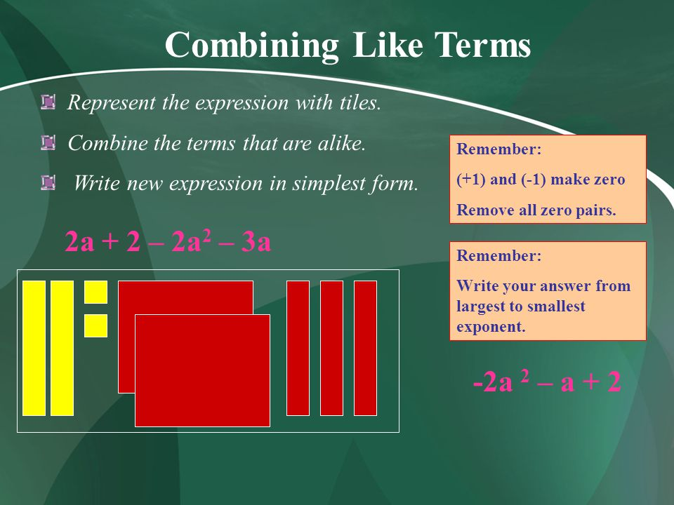 Combining Like Terms 2a + 2 – 2a2 – 3a -2a 2 – a + 2