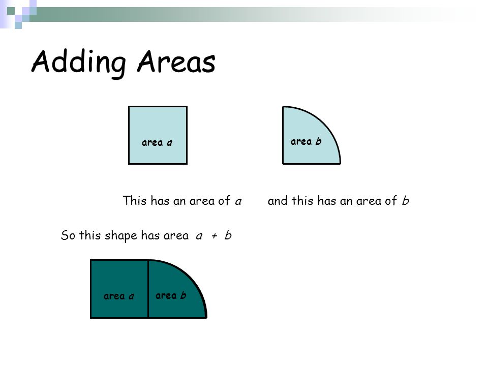 Adding Areas This has an area of a and this has an area of b