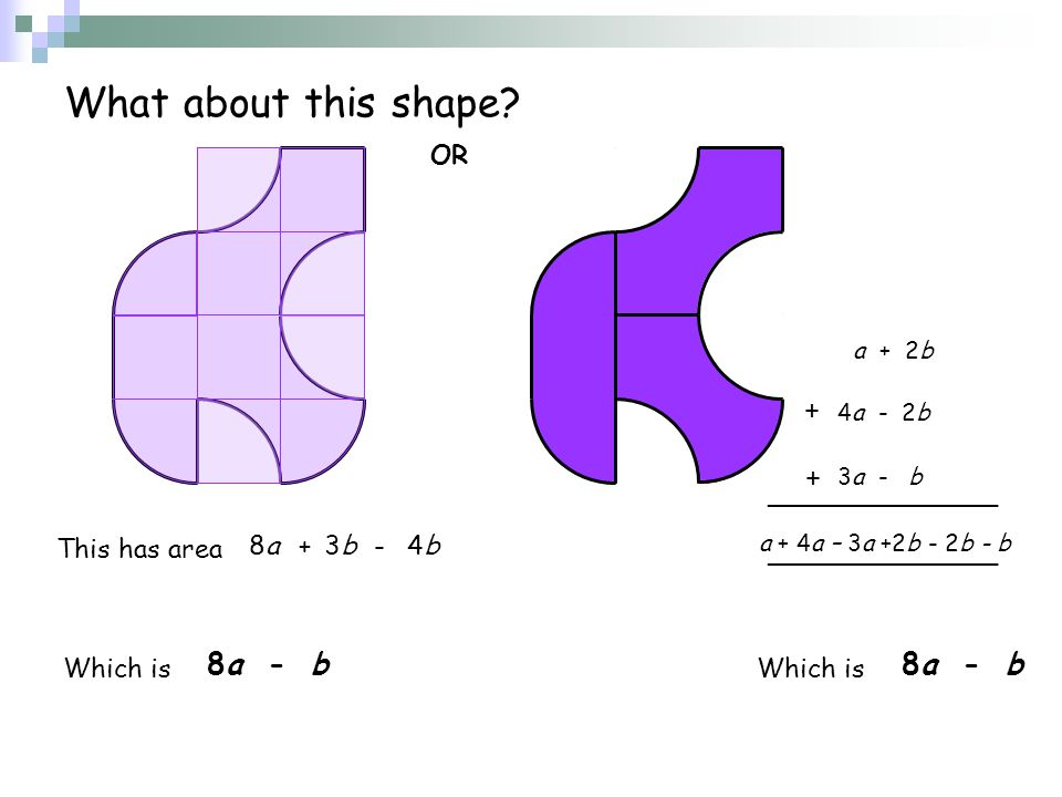 What about this shape 8a - b 8a - b OR + + This has area 8a + 3b - 4b