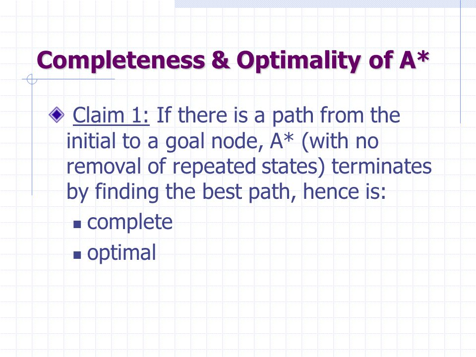 Completeness & Optimality of A*