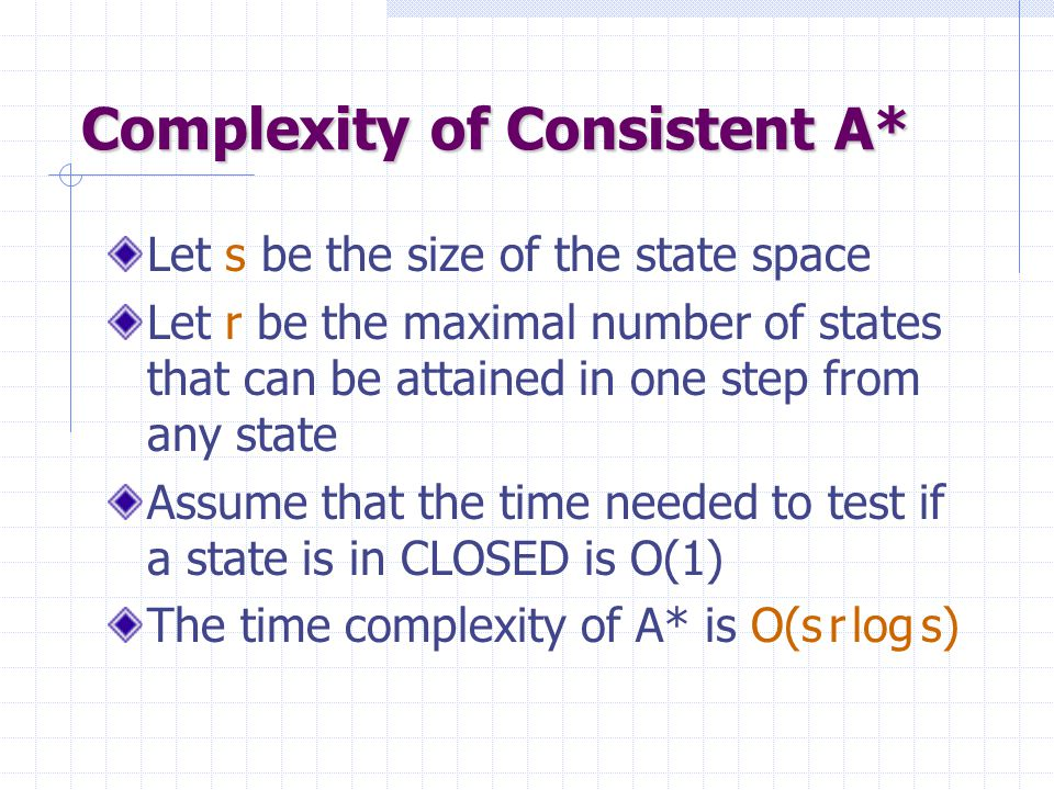 Complexity of Consistent A*
